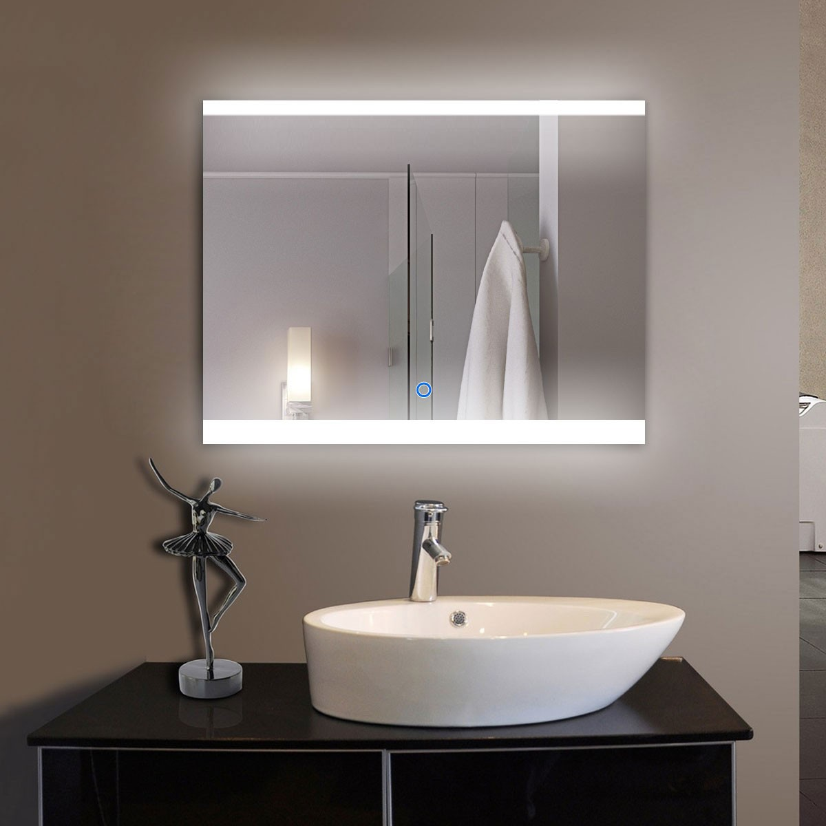 36 x 28 In Horizontal LED Bathroom Mirror, Touch Button (DK-OD-CL056)