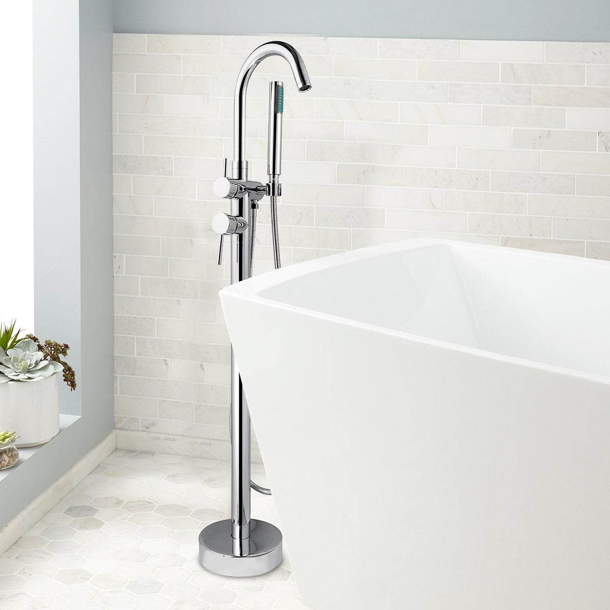 Modern Style Freestanding Tub Faucet - Brass with Chrome Finish (Y003)
