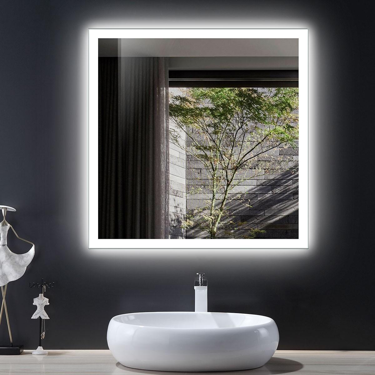 DECORAPORT 36 x 36 Inch LED Bathroom Mirror/Dress Mirror with Infrared Sensor Control, Anti-Fog, Vertical & Horizontal Mount (NG12-3636)