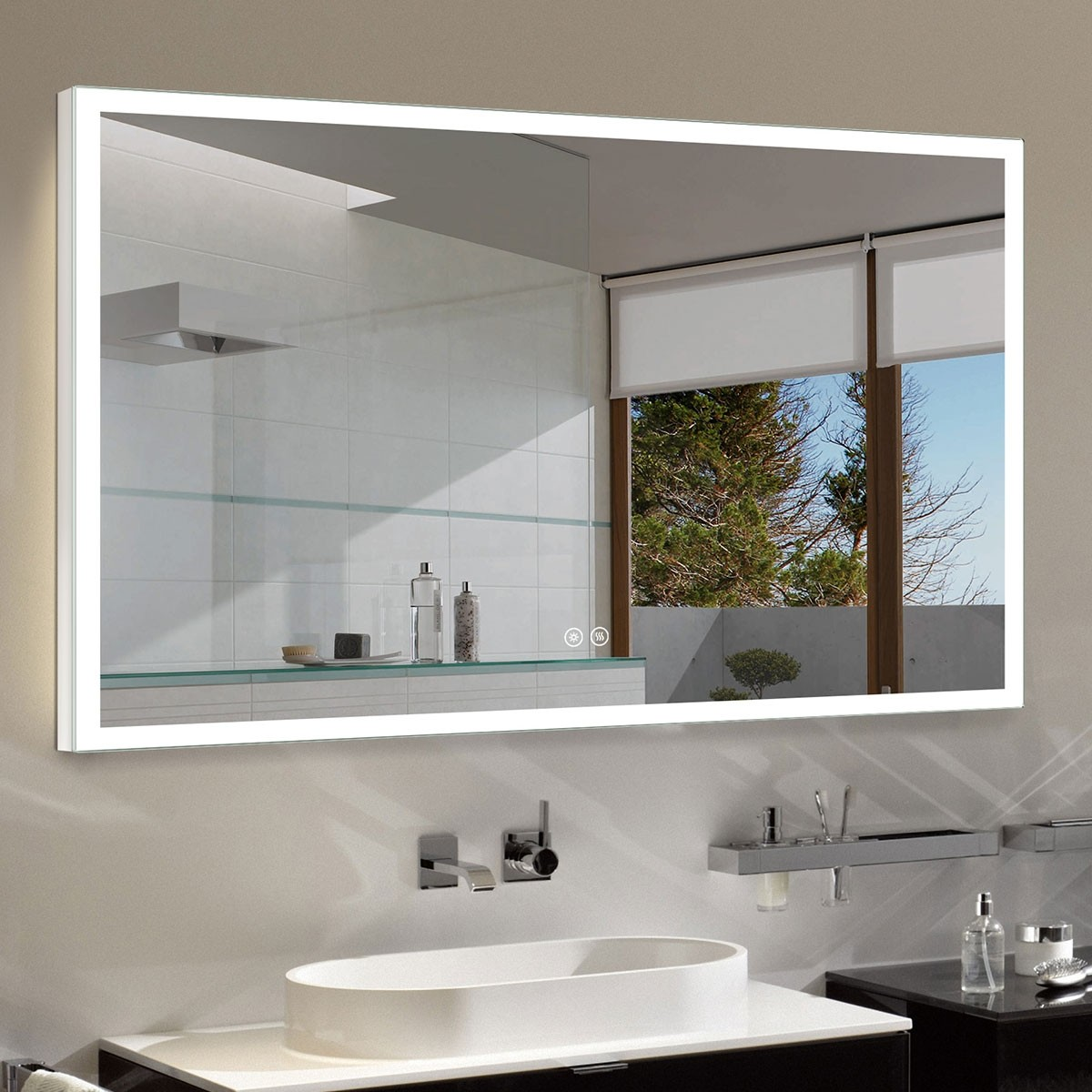 DECORAPORT 55 x 36 Inch LED Bathroom Mirror with Touch Button, Anti Fog, Dimmable, Bluetooth Speakers, Vertical & Horizontal Mount (D121-5536A)