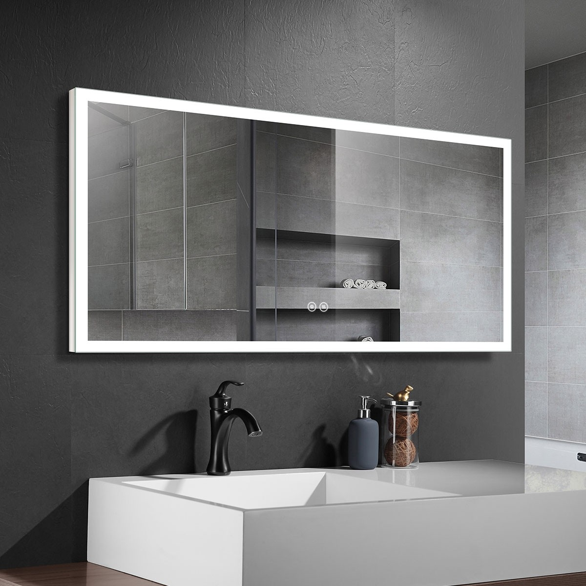 DECORAPORT 55 x 28 Inch LED Bathroom Mirror with Touch Button, Anti Fog, Dimmable,  Bluetooth Speakers, Vertical & Horizontal Mount (NT061-5528)