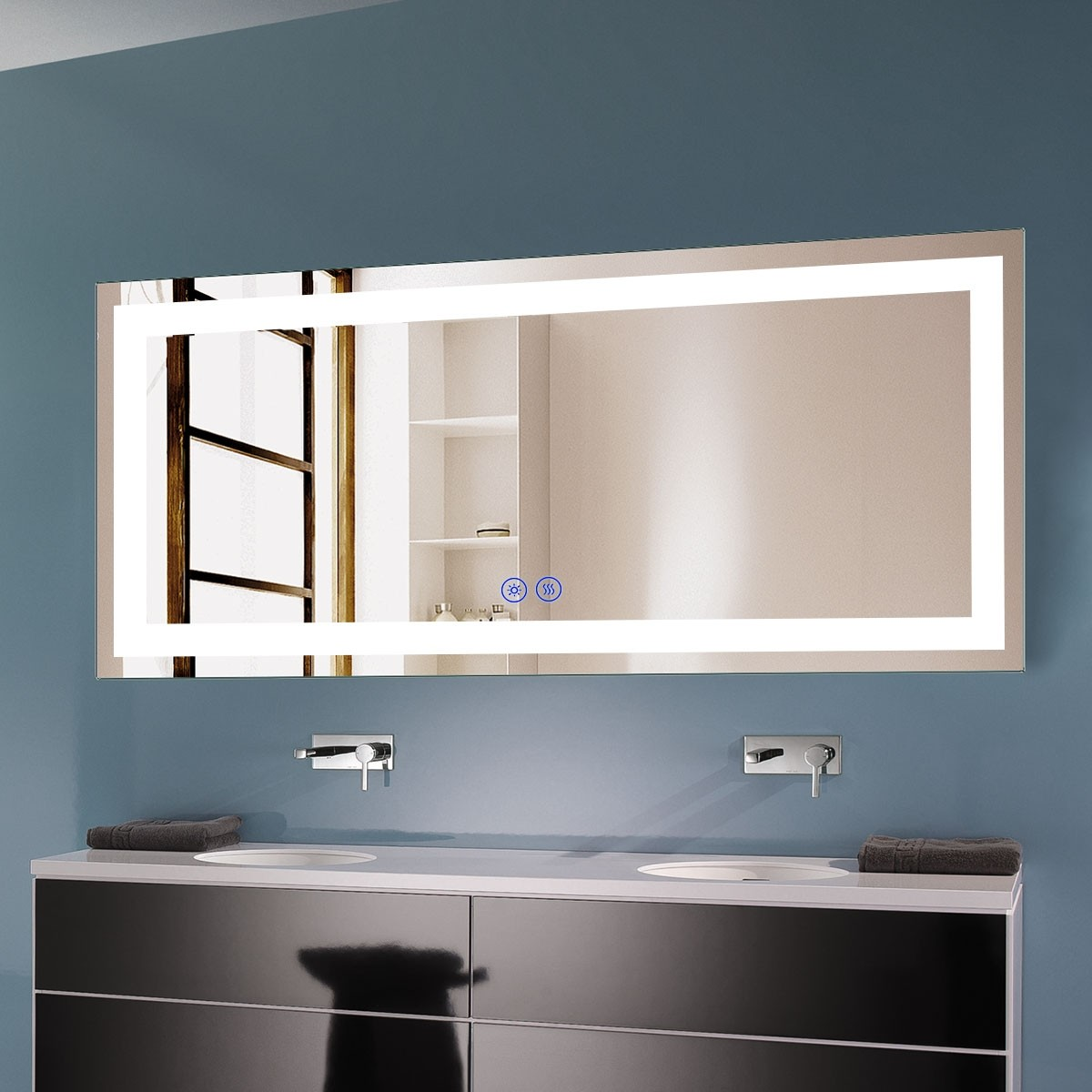 DECORAPORT 70 x 32 Inch LED Bathroom Mirror with Touch Button, Anti Fog, Dimmable, Bluetooth Speakers, Vertical & Horizontal Mount (D221-7032A)