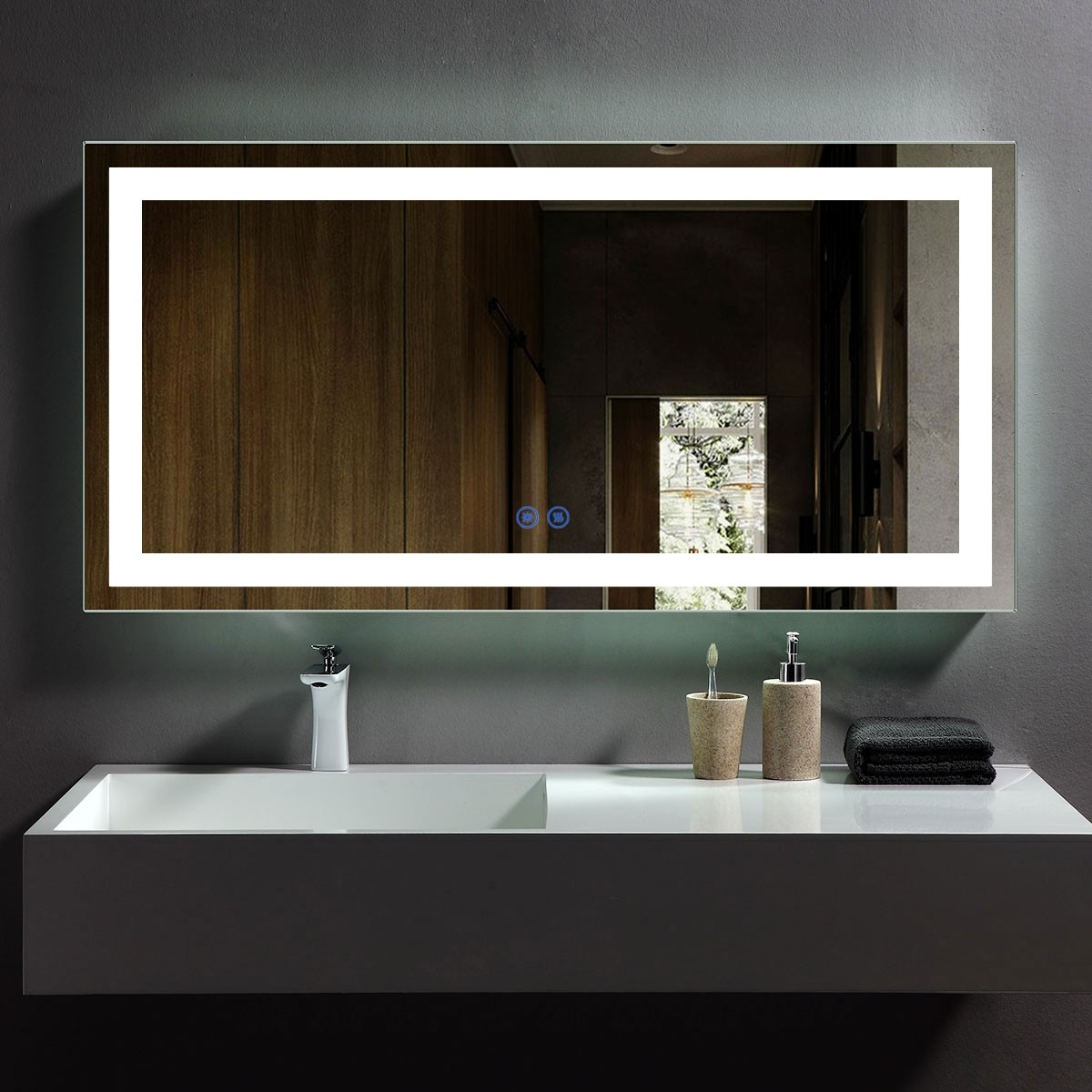 DECORAPORT 48 x 24 Inch LED Bathroom Mirror with Touch Button, Anti Fog, Dimmable, Vertical & Horizontal Mount (D209-4824)