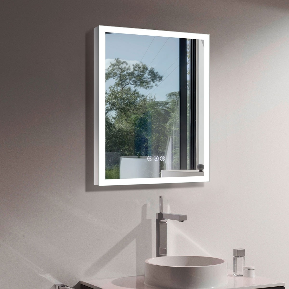 DECORAPORT 24 x 32 Inch LED Bathroom Mirror with Touch Button, Anti Fog, Dimmable, Cold & Warm Light, Vertical & Horizontal Mount (D123-2432B)