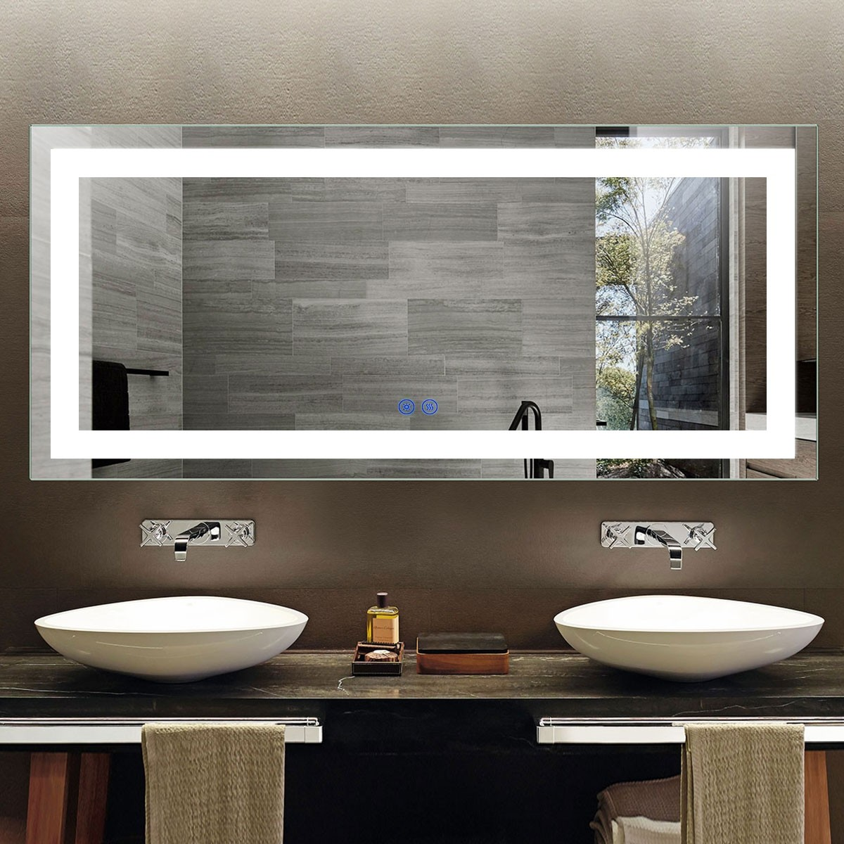 DECORAPORT 70 x 32 Inch LED Bathroom Mirror with Touch Button, Anti Fog, Dimmable, Vertical & Horizontal Mount (CT02-7032)