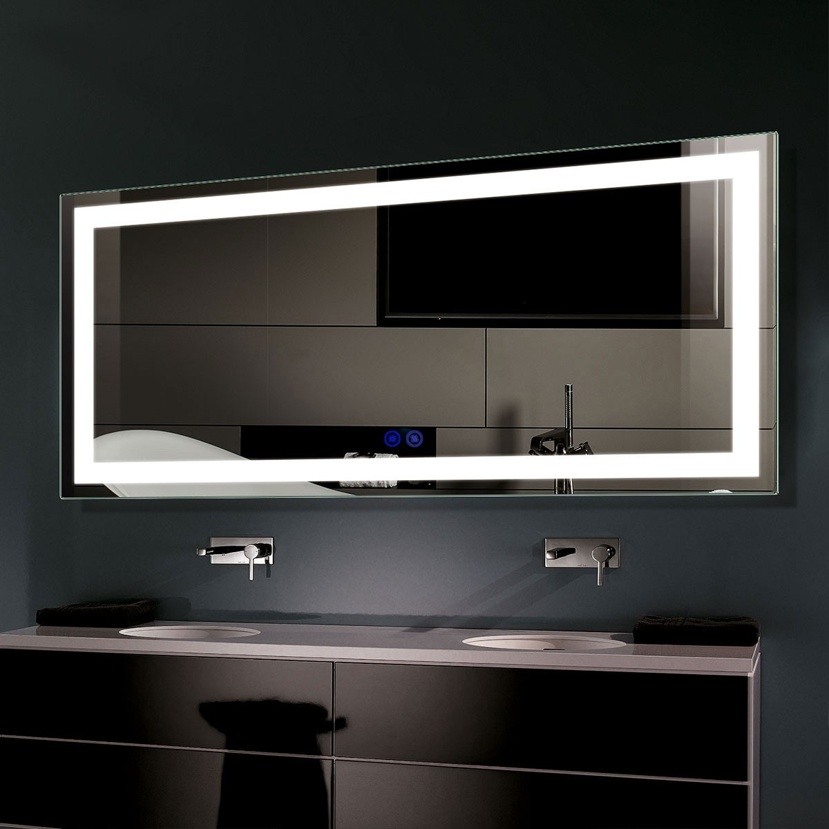 DECORAPORT 60 x 28 Inch LED Bathroom Mirror with Touch Button, Anti Fog, Dimmable, Vertical & Horizontal Mount (CT04-6028)