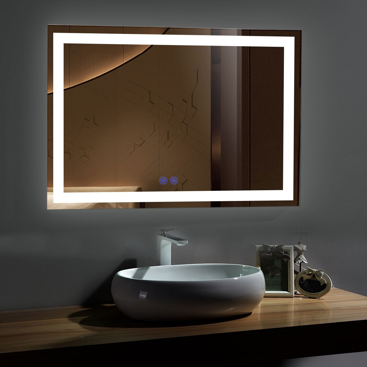 DECORAPORT 55 x 36 Inch LED Bathroom Mirror with Touch Button, Anti Fog, Dimmable, Vertical & Horizontal Mount (CT05-5536)