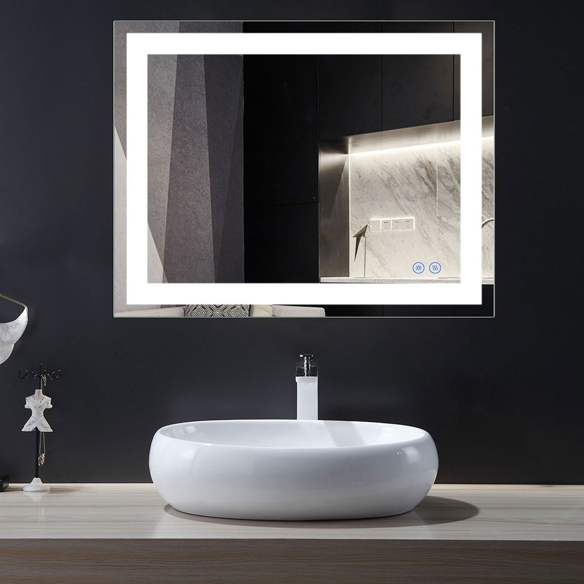 DECORAPORT 36 x 28 Inch LED Bathroom Mirror with Touch Button, Anti Fog, Dimmable, Vertical & Horizontal Mount (D213-3628)