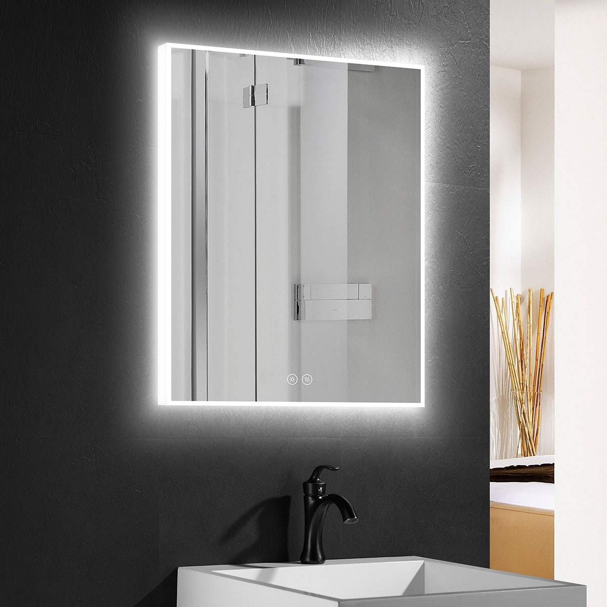 DECORAPORT 24 x 32 Inch LED Bathroom Mirror with Touch Button,Anti Fog, Dimmable, Vertical & Horizontal Mount (D414-2432)