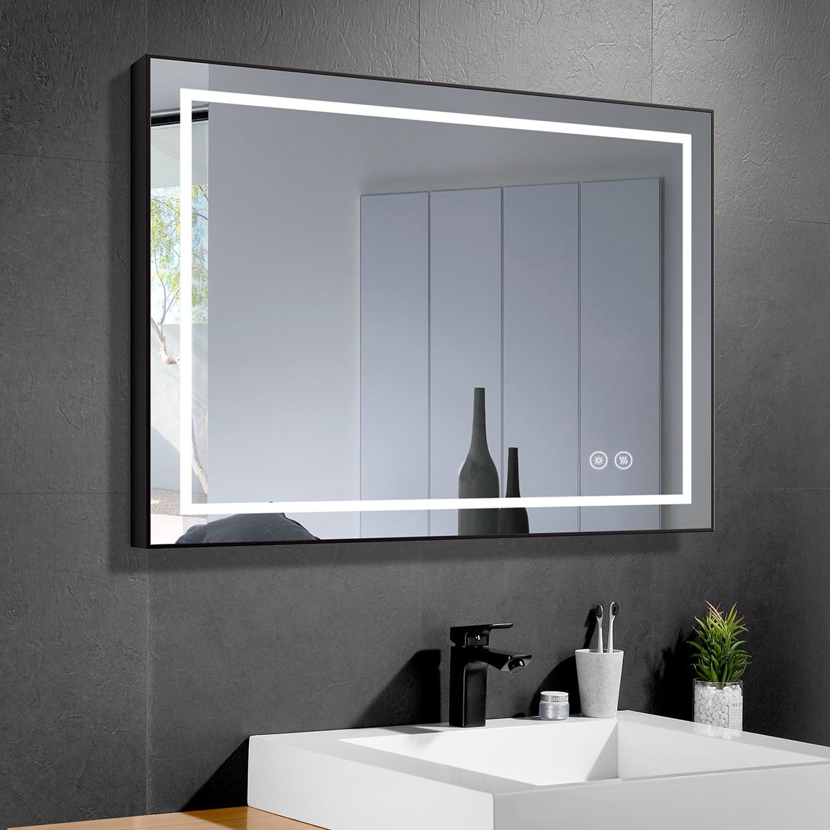 DECORAPORT 36 x 28 Inch LED Bathroom Mirror with Touch Button, Black Frame, Anti Fog, Dimmable, Vertical & Horizontal Mount (D613-3628)