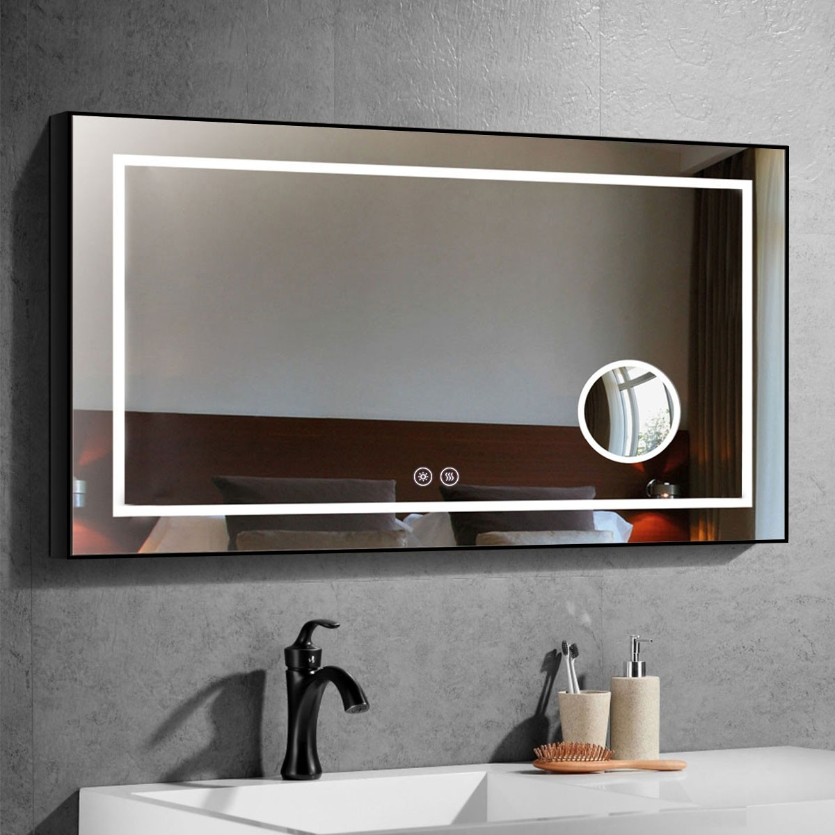 DECORAPORT 48 x 28 Inch LED Bathroom Mirror/Dress Mirror with Touch Button, Magnifier, Anti Fog, Dimmable, Vertical & Horizontal Mount (D622-4828C)