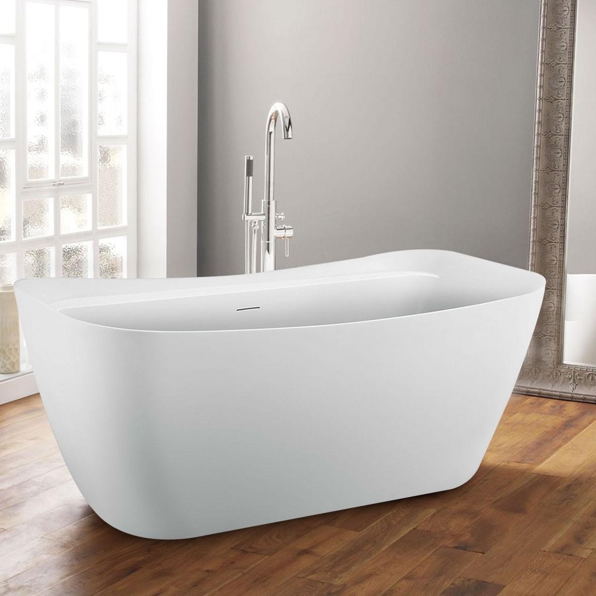 BATHPRO 59 In High-end Freestanding Bathtub - Acrylic Matte White (DK-MF-97578)