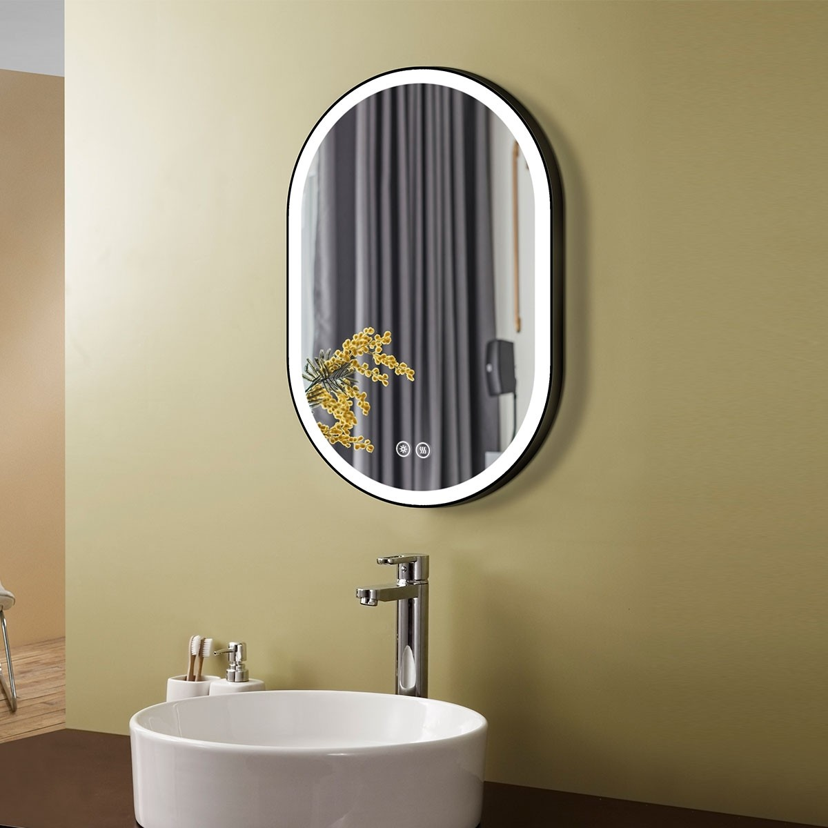 DECORAPORT 24 x 36 Inch LED Bathroom Mirror with Touch Button, Black, Anti Fog, Dimmable, Vertical & Horizontal Mount (D1301-2436)