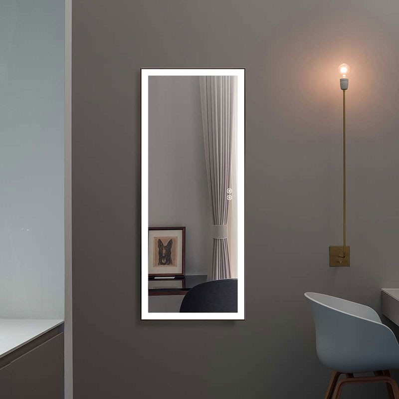 DECORAPORT 48 x 20 Inch LED Full-Length Dress Mirror with Touch Button, Explosion-proof Film, Dimmable, Black Frame, Cold & Neutral & Warm Lights, Mirror&Wall Control, Standing Holder (D1905-4820)