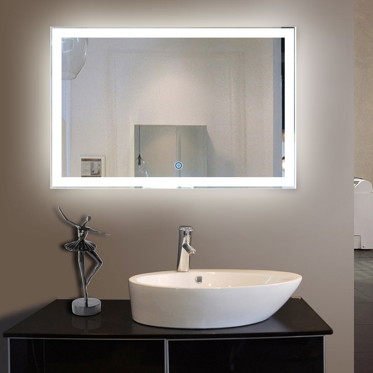 55 x 36 In. Horizontal LED Lighted Bathroom Mirror, Touch Button (DK-OD-N031-C)