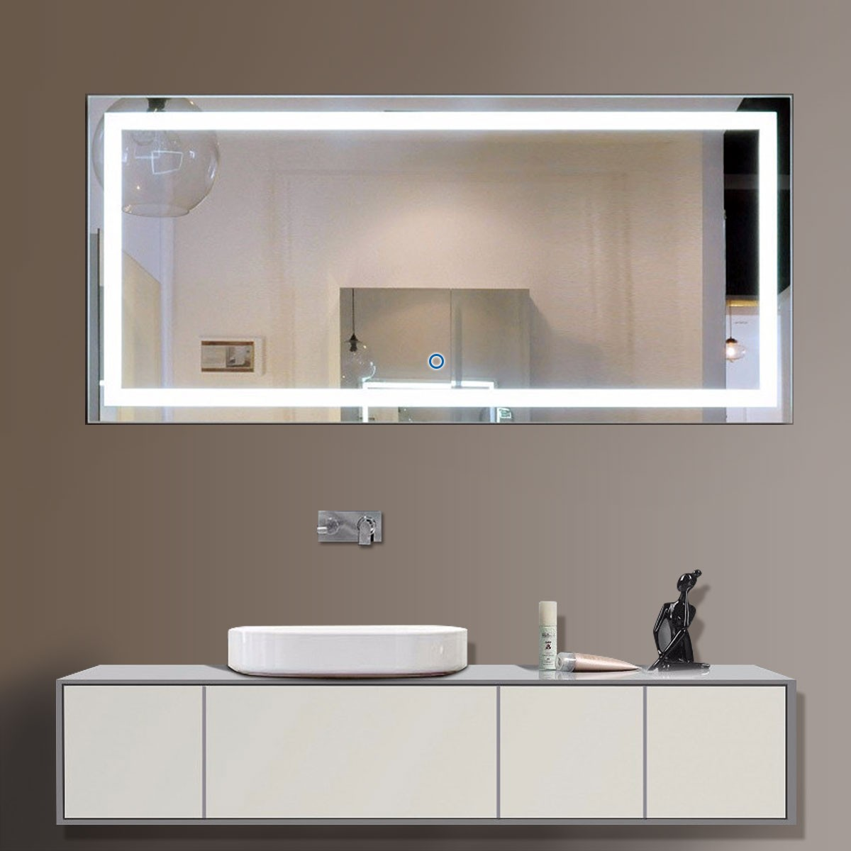 60 X 28 In Horizontal Led Mirror Touch Button Dk Od Ck010 C Decoraport Usa