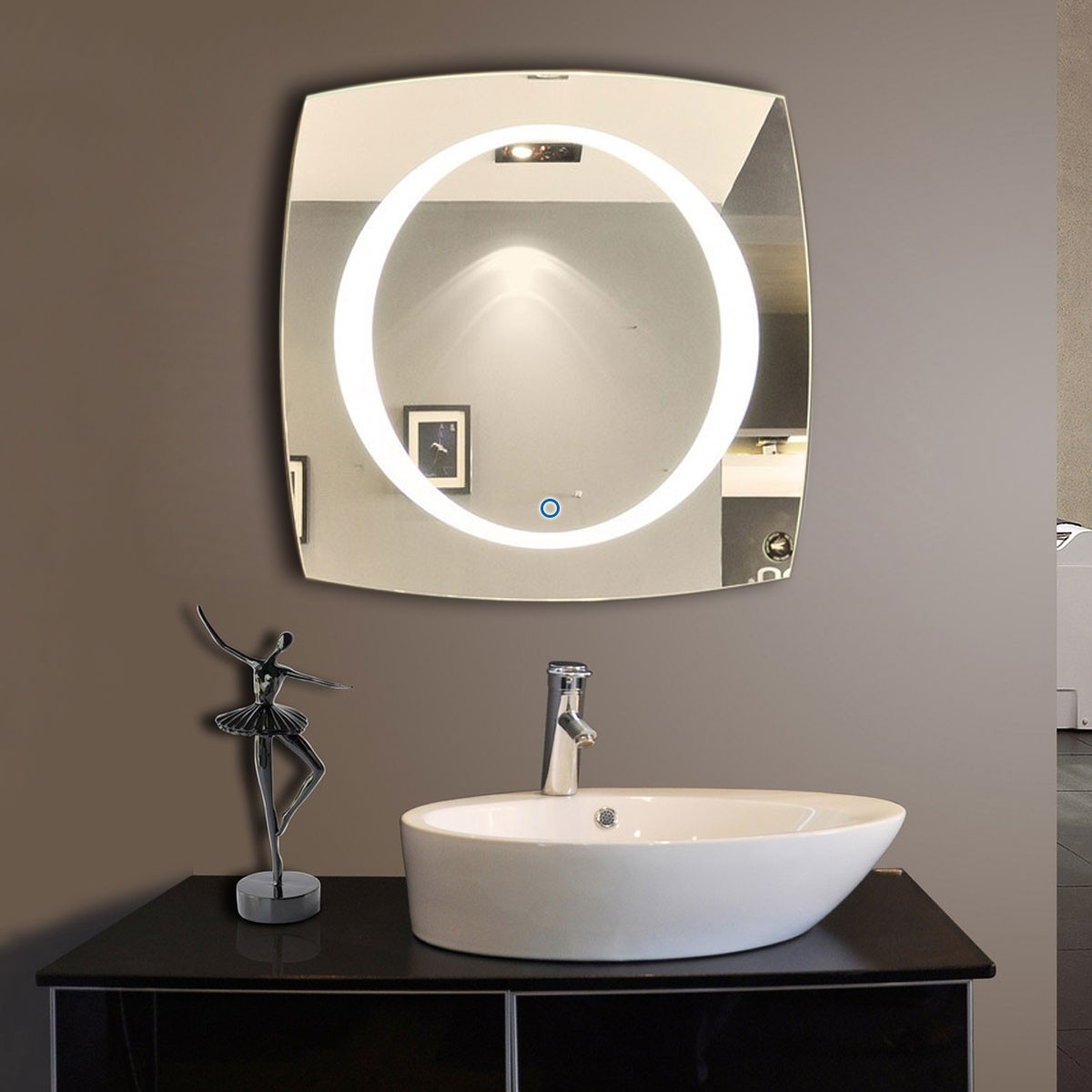 40 x 40 in led mirror with touch button dk od n006 for Miroir 90 x 40