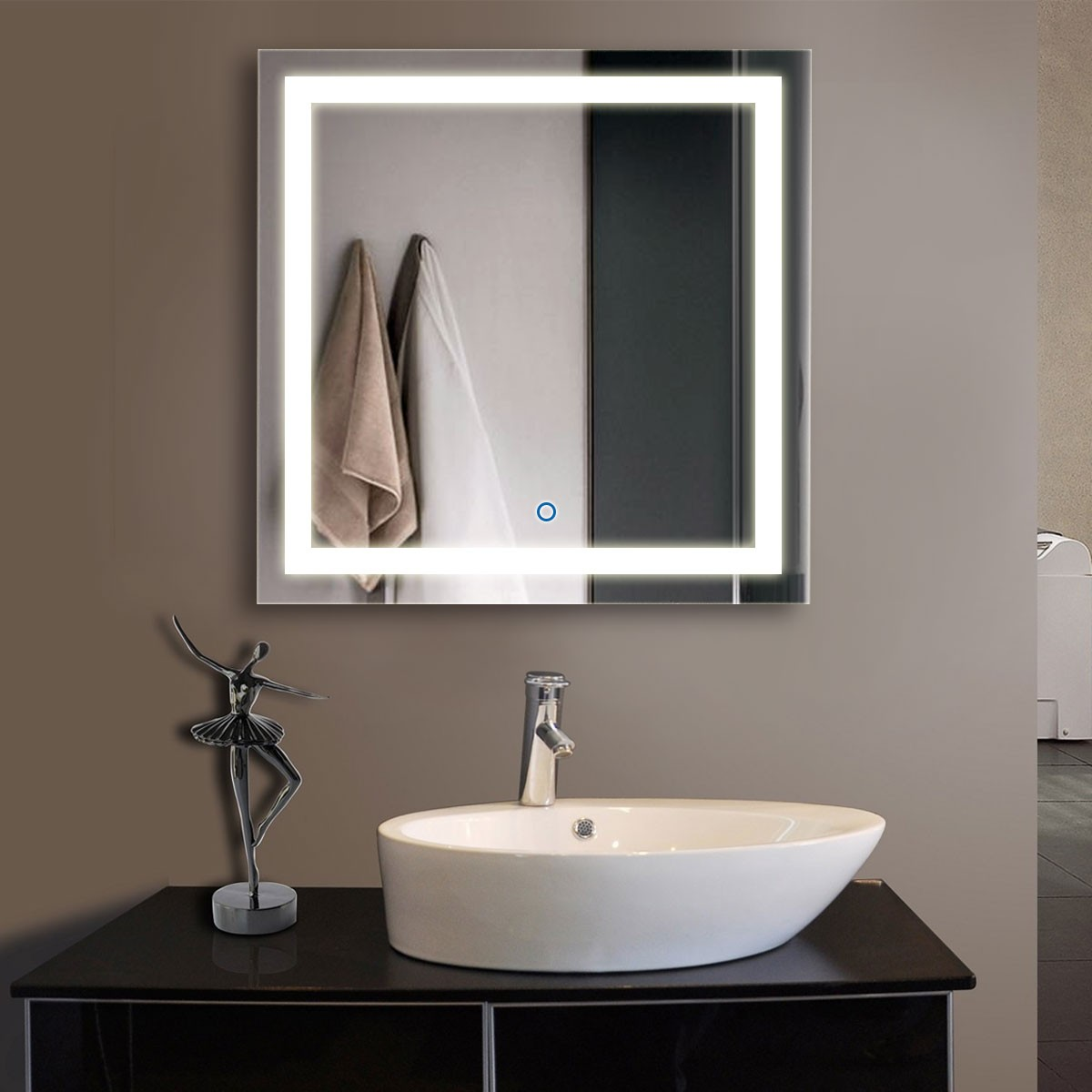 32 x 32 In. Square LED Mirror, Touch Button (DK-OD-CK010-F)