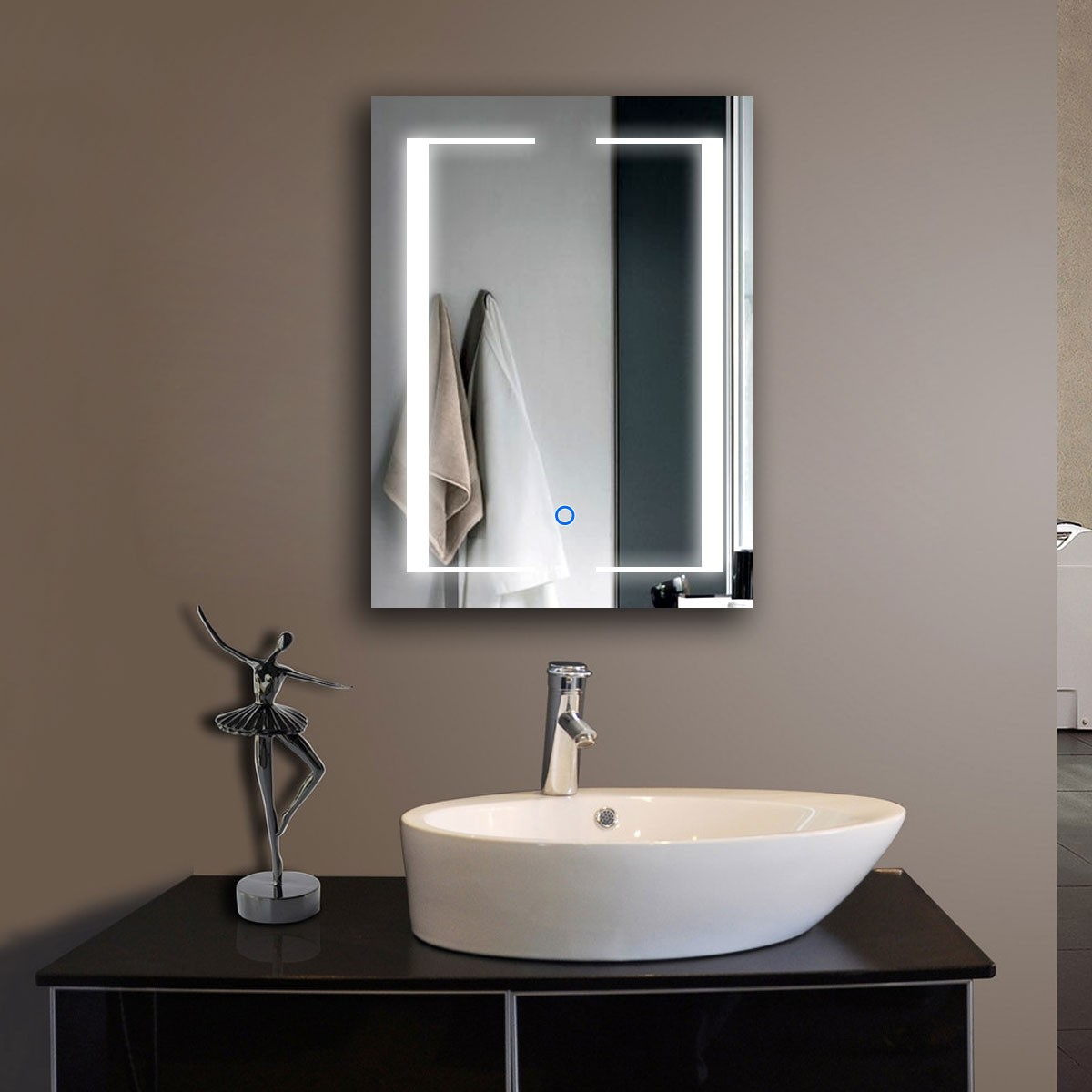 24 x 32 In Vertical LED Bathroom Mirror, Touch Button (DK-OD-CL011)