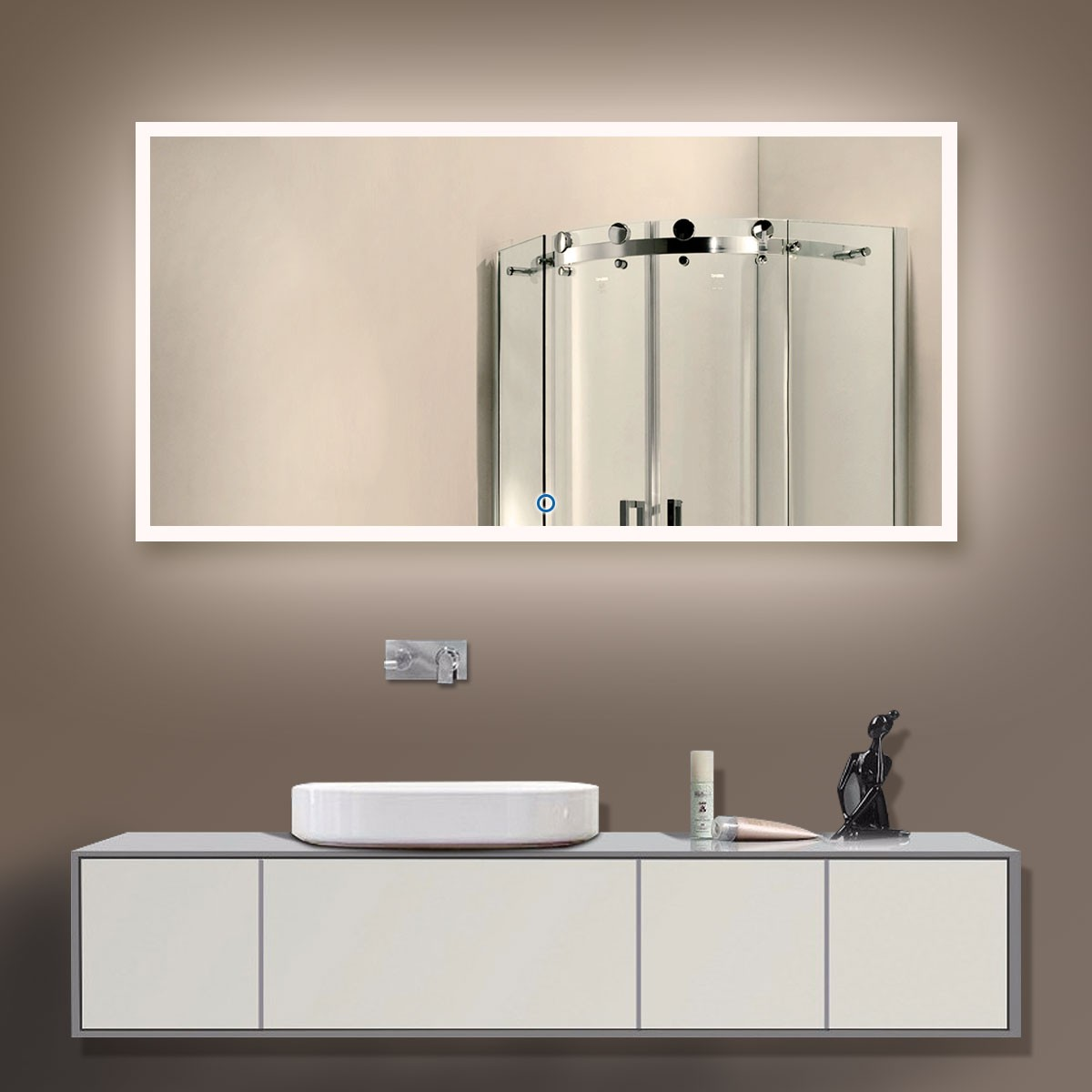55 x 28 In. Horizontal LED Mirror, Touch Button (DK-OD-N031-D)