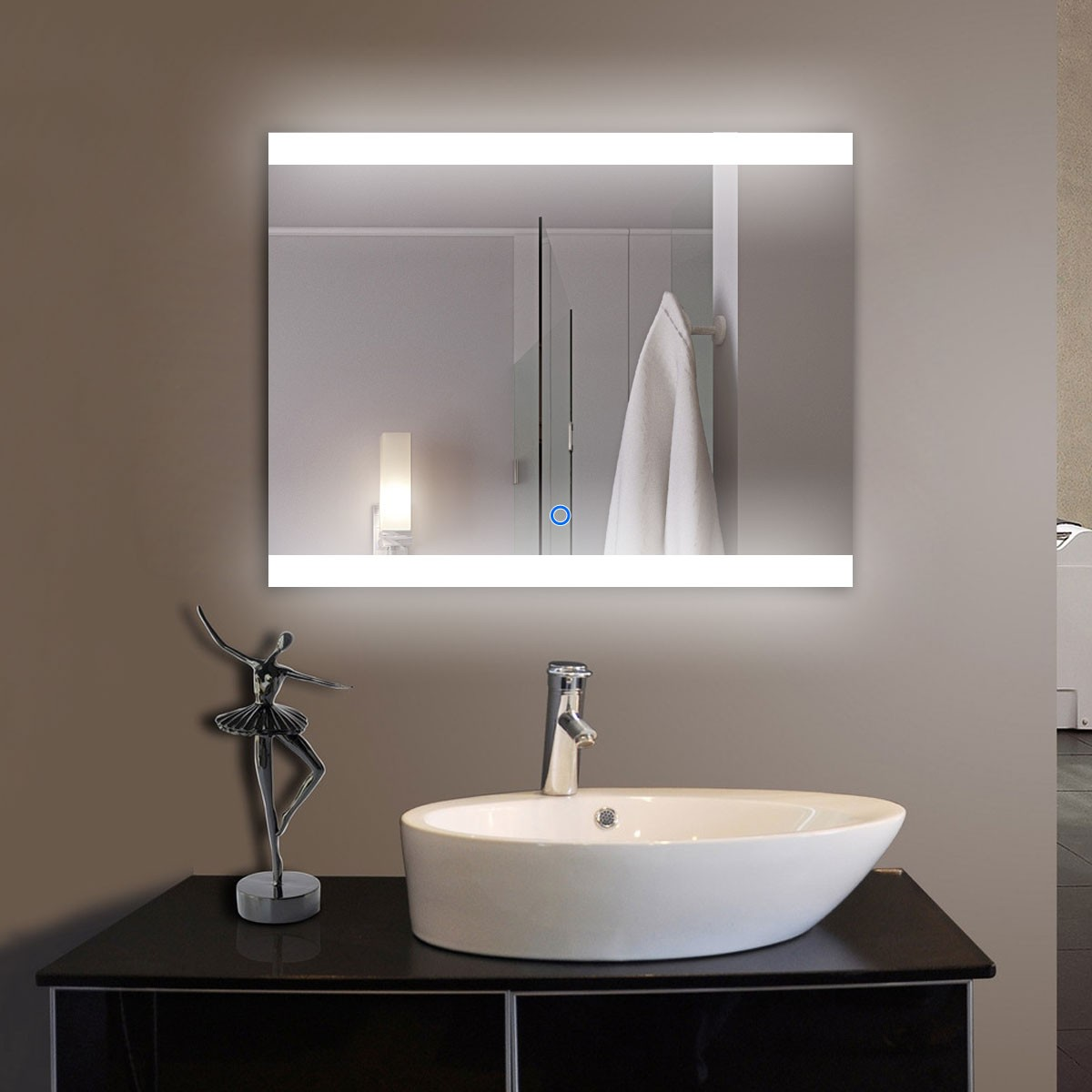 36 x 28 In Horizontal LED Lighted Bathroom Mirror, Touch Button (DK-OD-CL056)