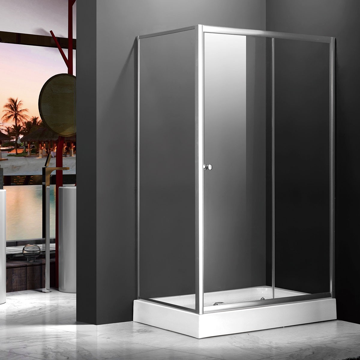 48 x 36 In. (120 x 90 cm) Clear Tempered Glass Shower Stall (DK-MS-WE-04)