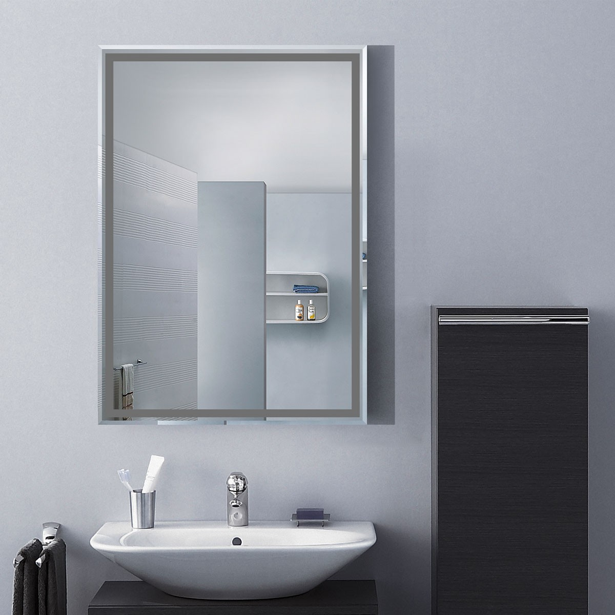 28 X 20 In Wall Mounted Rectangle Bathroom Mirror Dk Od