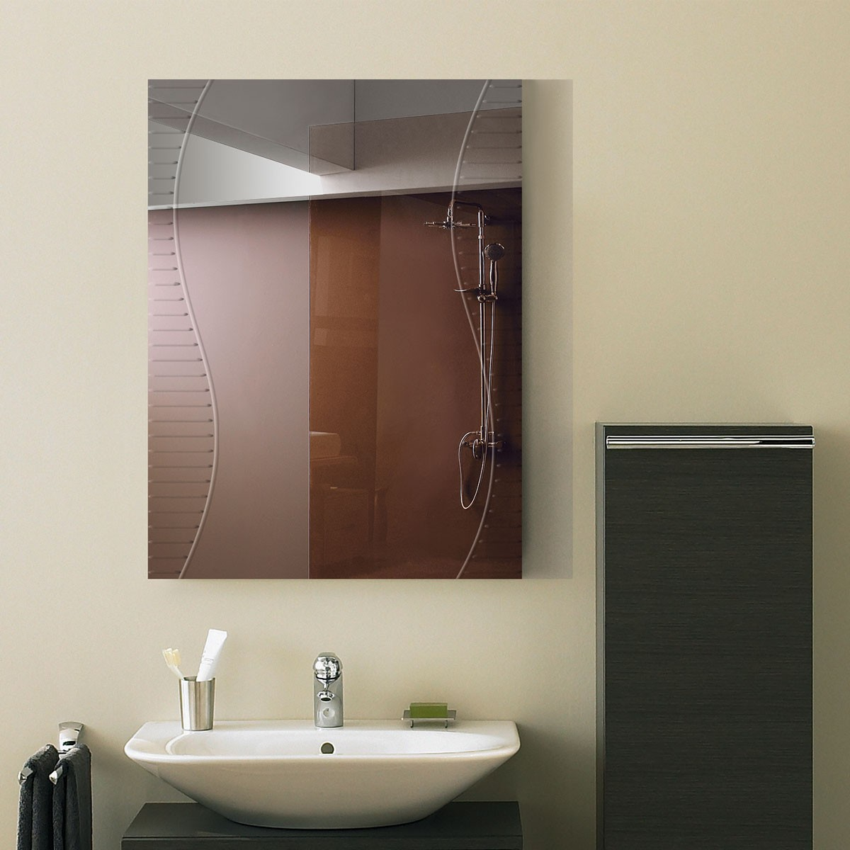 Charmant 24 X 18 In. Wall Mounted Rectangle Bathroom Mirror (DK OD