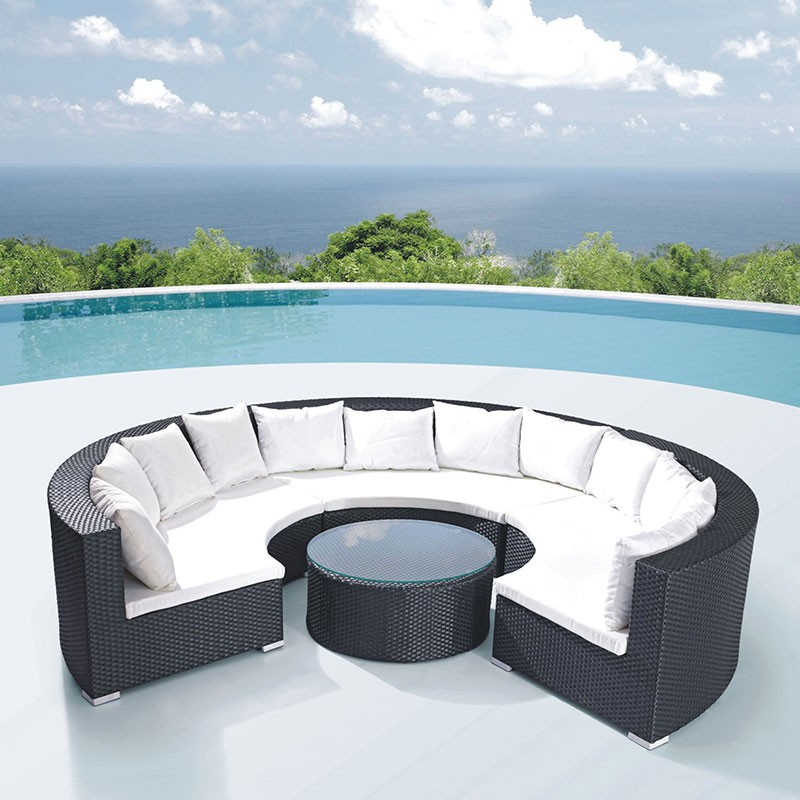 4-Piece PE Rattan Sofa Set: 3 * Curved Corner Sofa, 1 * Coffee Table (LLS-323)