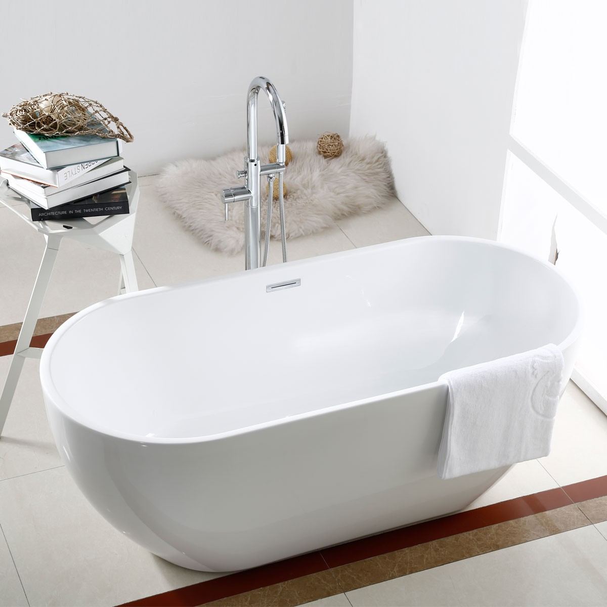 60 In White Acrylic Seamless Freestanding Bathtub (DK AT 11572)