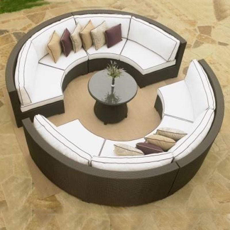 9-Piece PE Rattan Sofa Set: 8 * Curved Armless Sofa, 1 * Coffee Table (LLS-356)