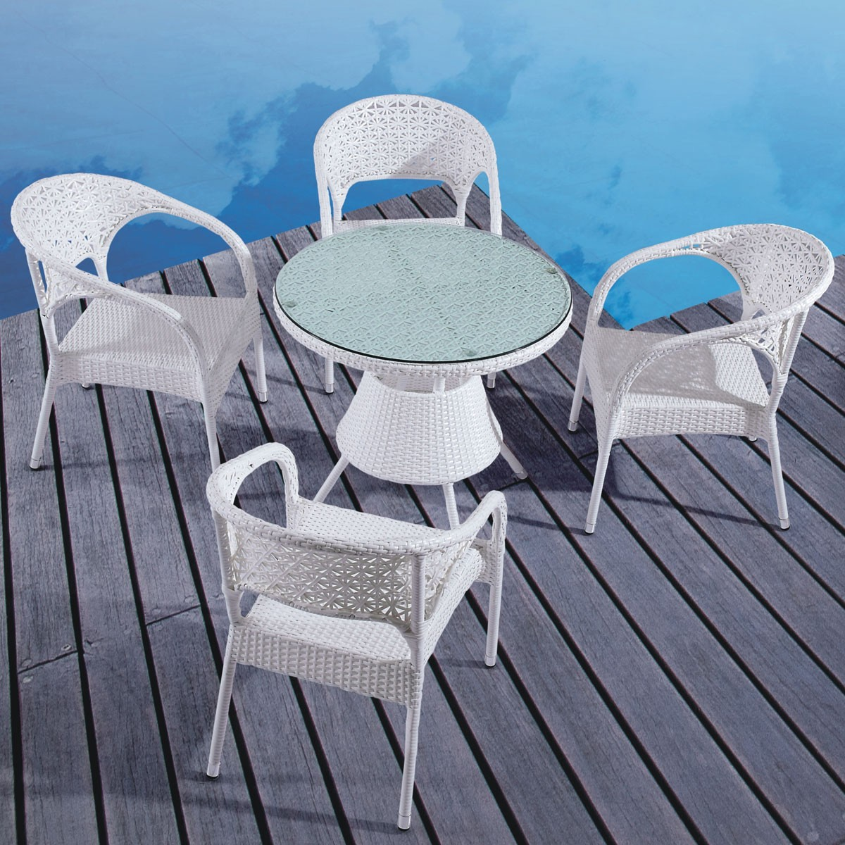 PE Rattan 5 Pieces Dining Set: 1 * Dining Table, 4 * Chair (LLS-6087+1087)