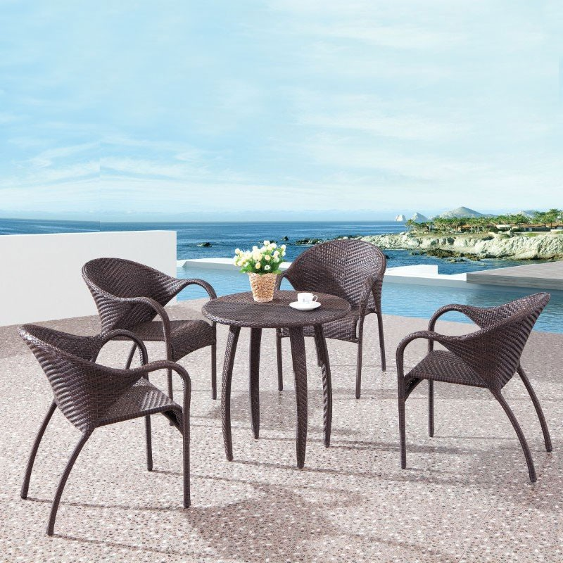 PE Rattan 5 Pieces Dining Set: 1 * Dining Table, 4 * Chair (LLS-6153+1153)