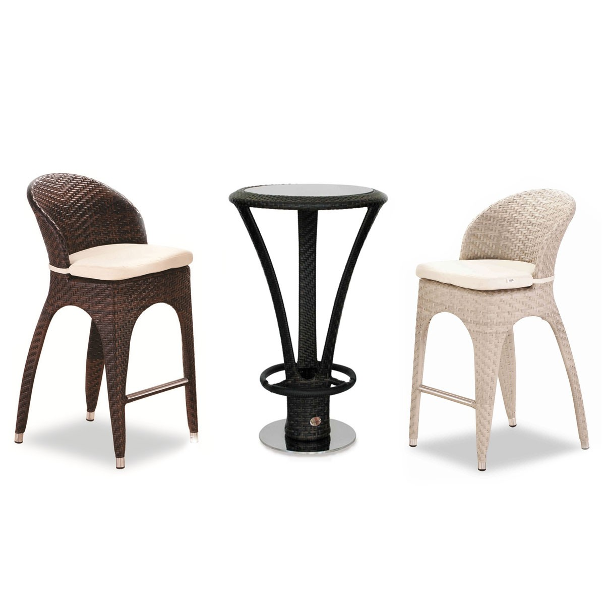 PE Rattan 3 Pieces Dining Set: 1 * Dining Table, 2 * Chair (LLS-FSAL26)