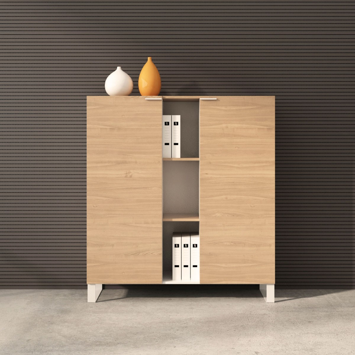 "Office Storage Cabinet 52""H x 47.2""W x 15.7""D in Oak and White with 2 doors (CG12)"