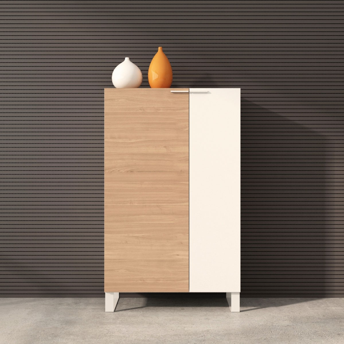 """Office Storage Cabinet 52""""H x 31.5""""W x 15.7""""D in Oak and White with 2 doors (CG22)"""