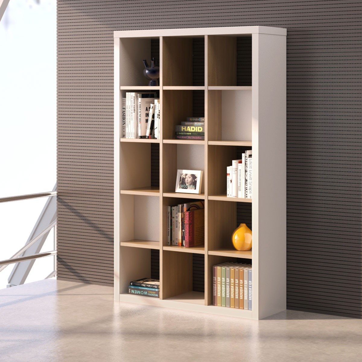 """Shelving Unit 76.8""""H x 47.2""""W x 15.7""""D in Oak and White (CG53)"""