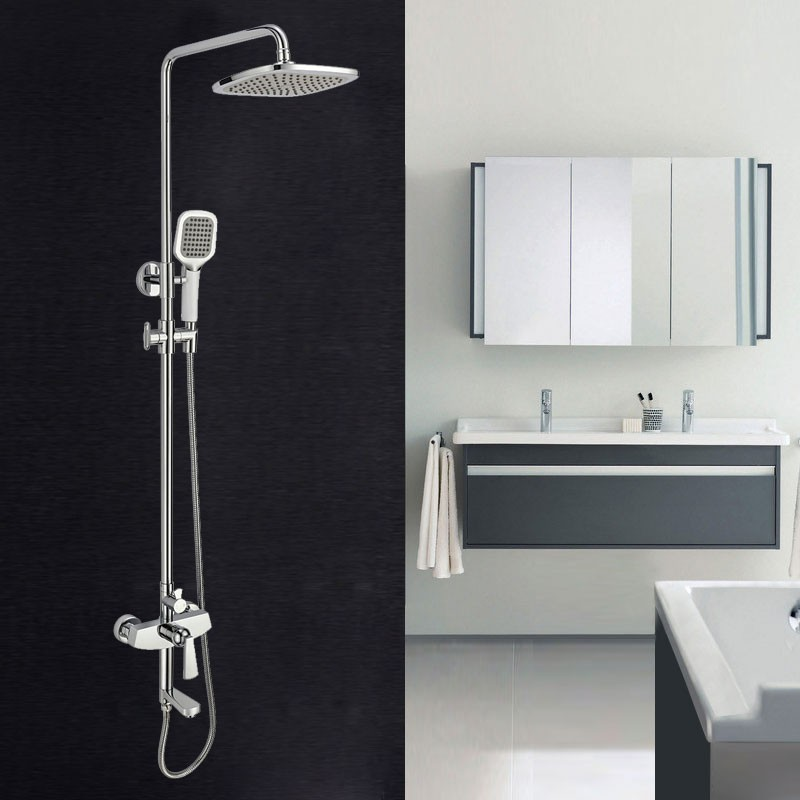 Bathroom Single Handle Tub and Shower Faucet - Brass with Chrome Finish (86H46-CHR)