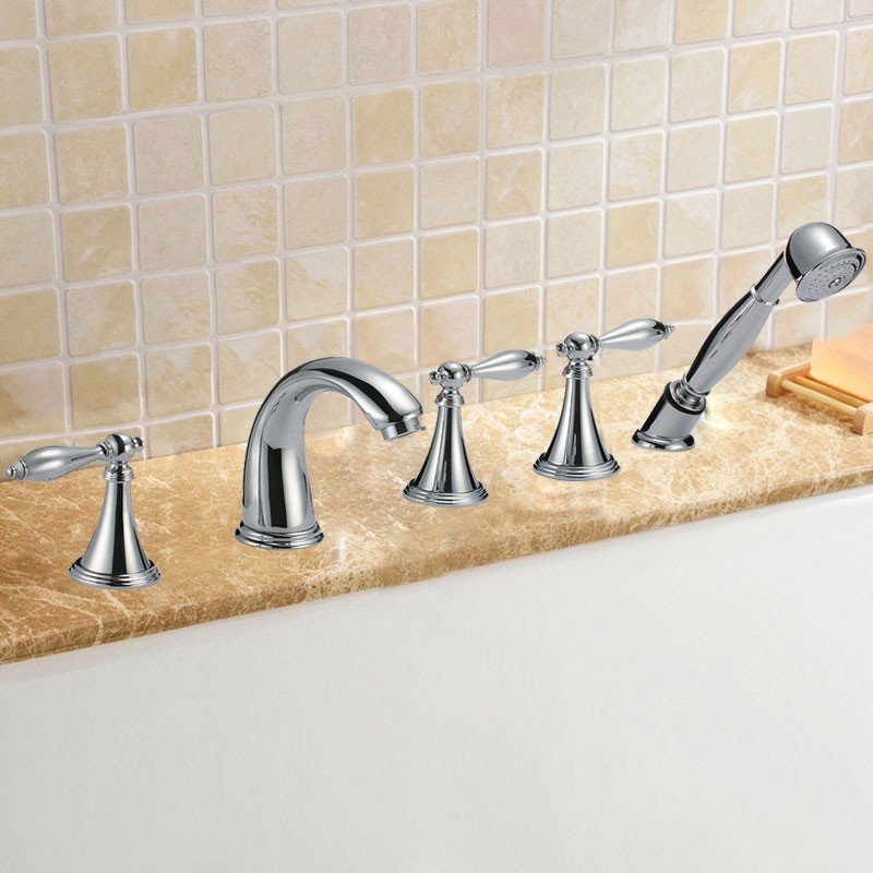Deck-mount Three-Lever Roman Tub Faucet - Brass with Chrome Finish (85H05-CHR)