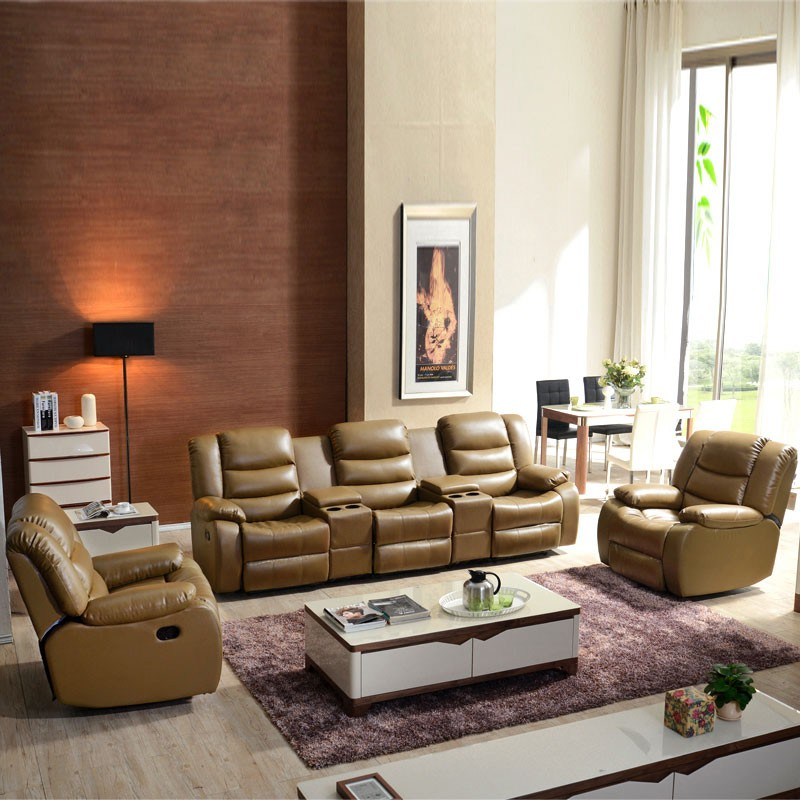 Light Brown Power-driven Reclining Loveseat in Leather ( LH-189-2)