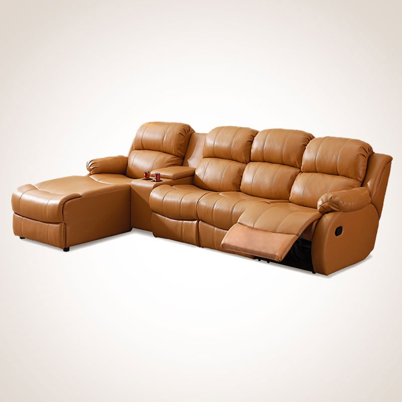 Dark Beige Genuine Leather Manual Recliner Sectional Sofa with Cup Holder Console and Left-facing Chaise (L33-2)