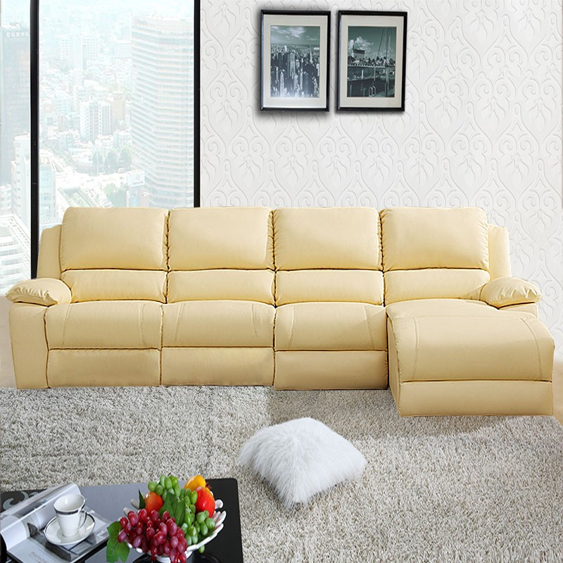 Beige Manual Recliner Sectional Sofa in Genuine Leather with Cup Holder Console and Left-facing Chaise (LH-188-2)