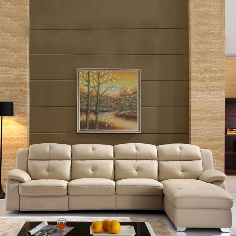 Beige Recliner Sectional Sofa in Leather with Storage and Left-facing Chaise (LH-7016-2)