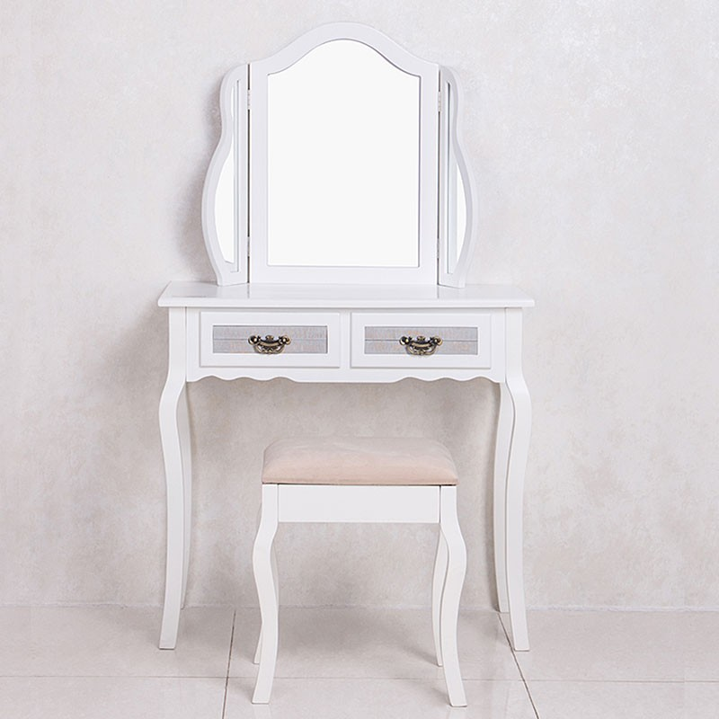 White Bedroom Vanity Set with Mirror and Stool (JI3240) | Decoraport USA