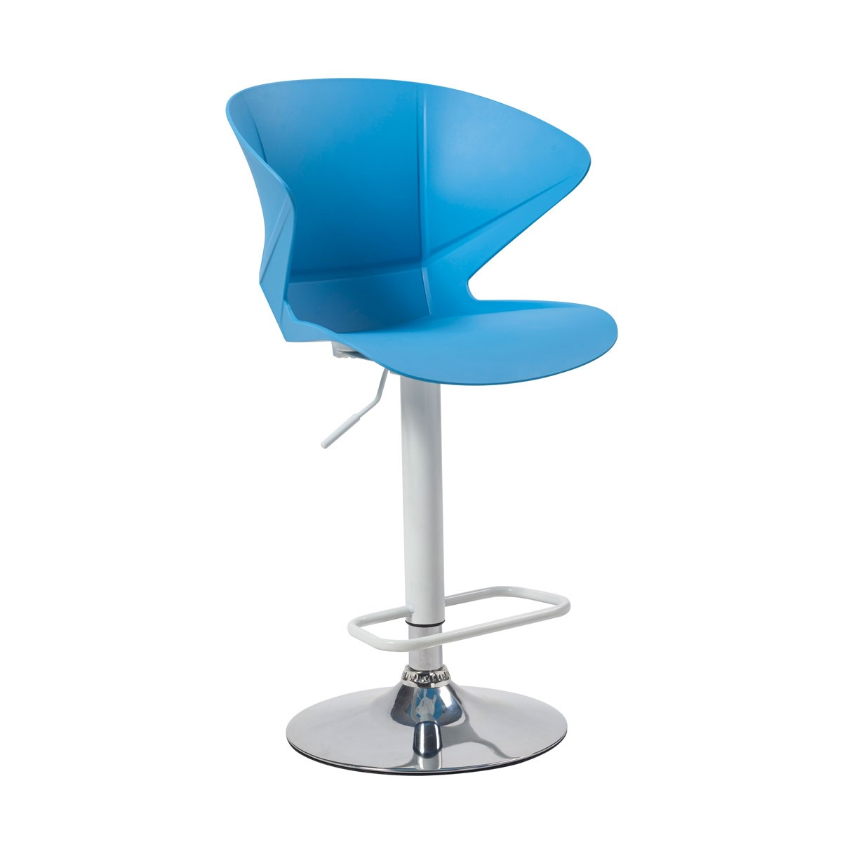 Blue Adjustable Height Swivel Bar Stool With Round Base