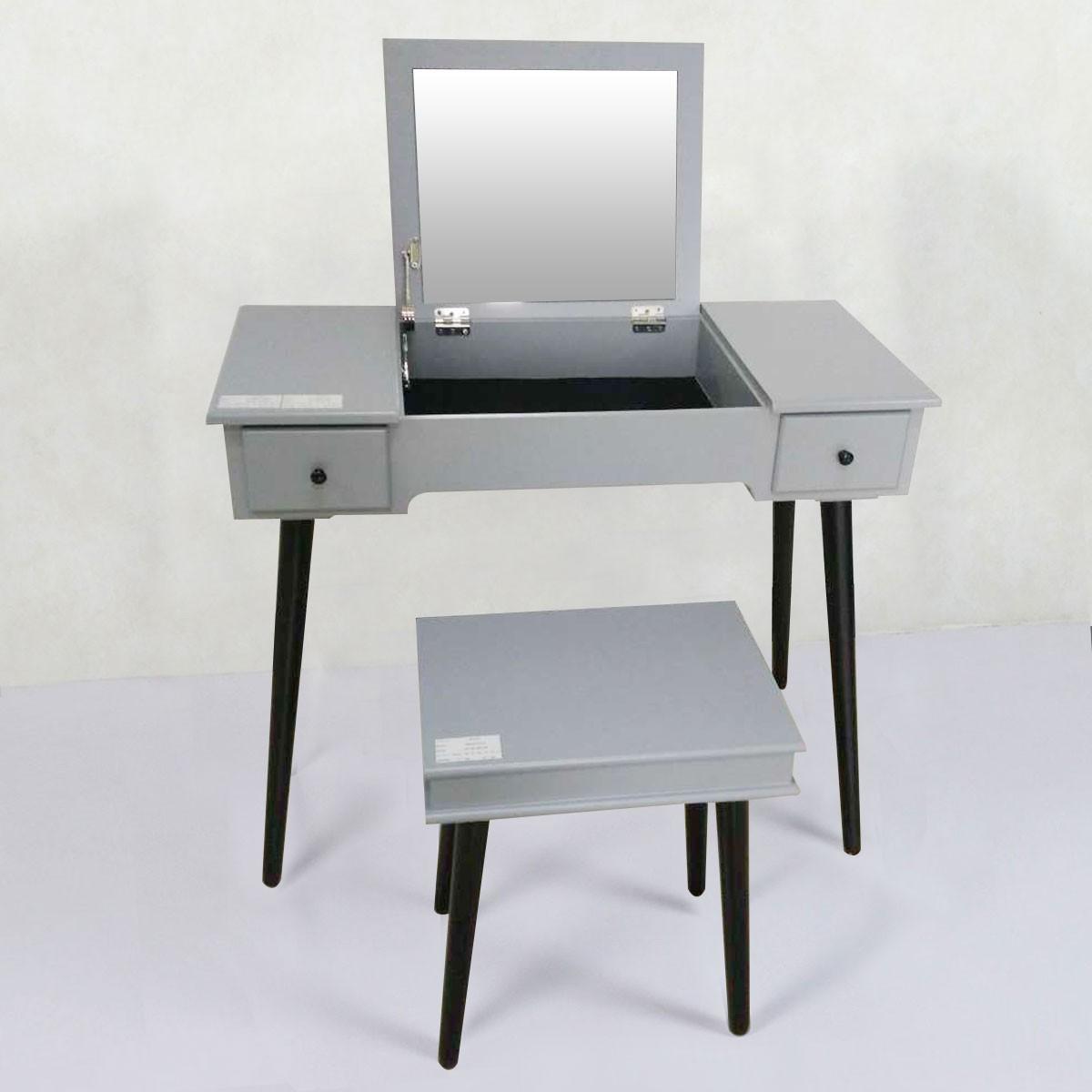 Grey Bedroom Makeup Vanity Set With Flip Top Mirror And