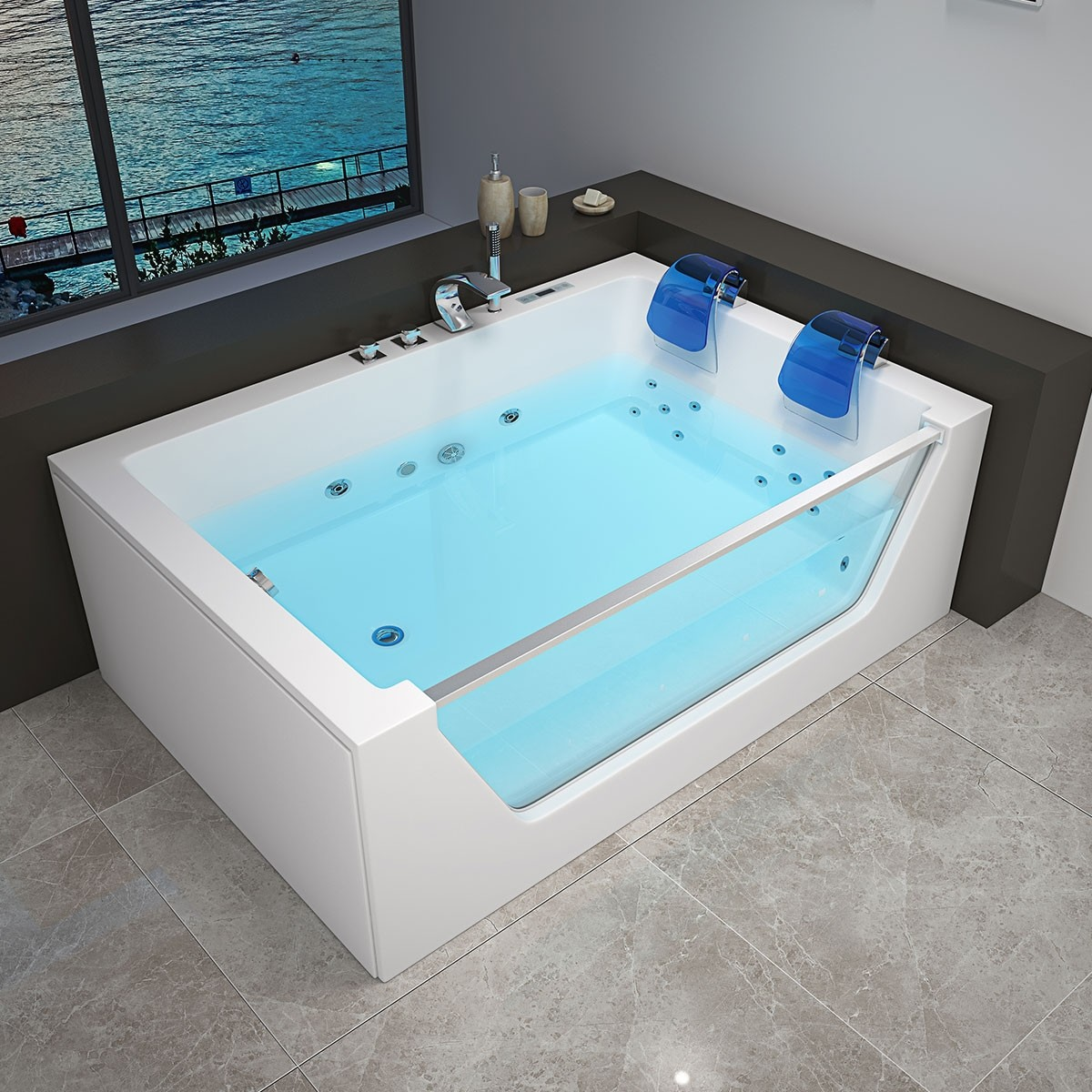 Decoraport 69 x 47 In Whirlpool Tub with Computer Panel, Heater, Ozone, Light (DK-RL-6136)