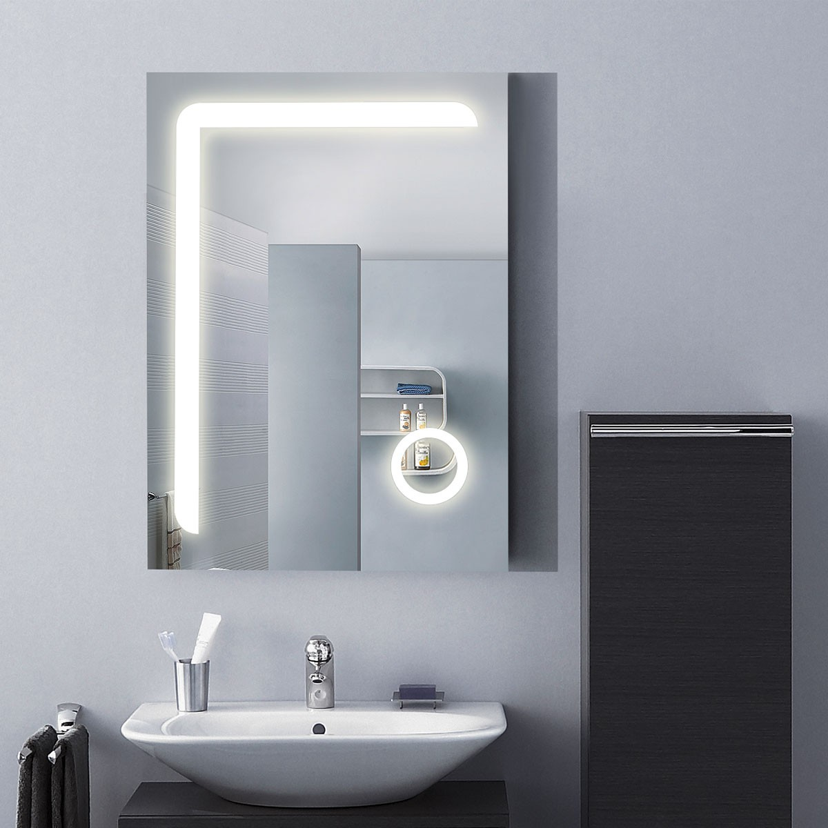 LED Bathroom Mirror with Circular Magnifier, ON/OFF Switch/24 Inch x 32 Inch (DK-OD-CL810)
