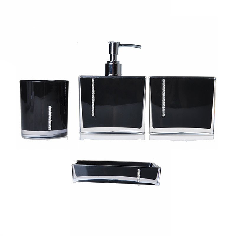 4-Piece Bathroom Accessory Set, Black Collection (DK-ST024)