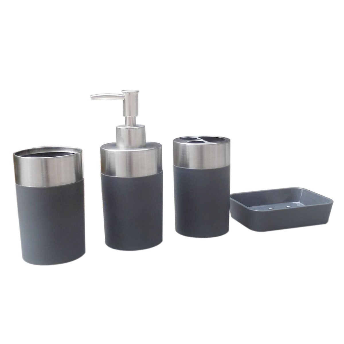 4 Piece Bathroom Accessory Set Grey Collection Dk St021